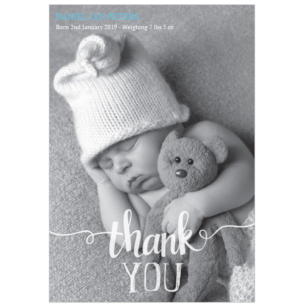 Clear & Simple baby thank you card - portrait format