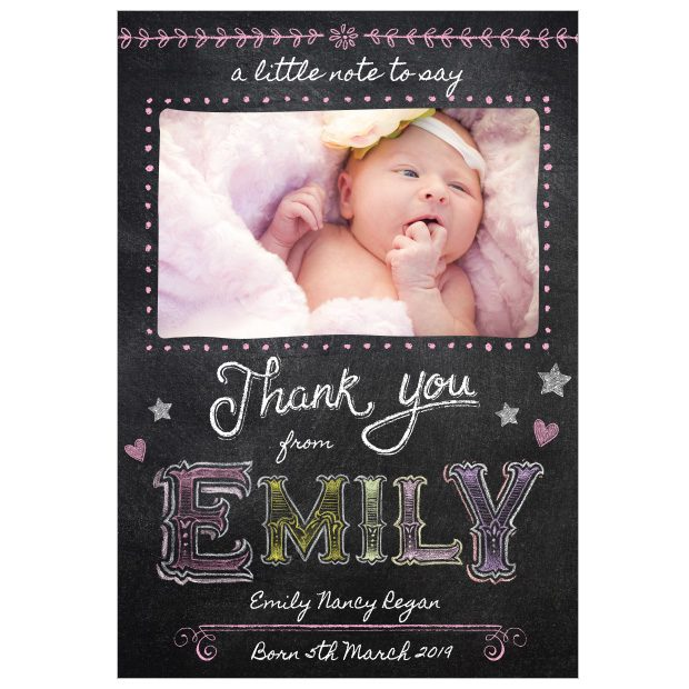 front view of baby card 'colourful chalk', portait format