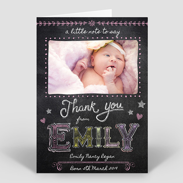 Colourful Chalk - Girl, baby thank you card for girls by Cedar Tree