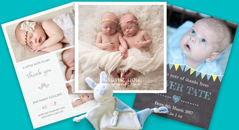 Montage of baby thank you cards