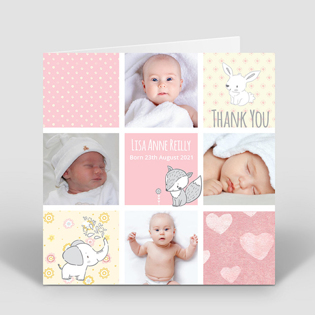 Comic Book - Girl, baby thank you card for girls by Cedar Tree