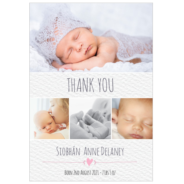 front view of 'Clean Texture - Girl' baby thank you card, portrait format