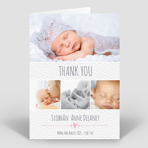 Clean Texture - Girl, baby thank you card for girls by Cedar Tree