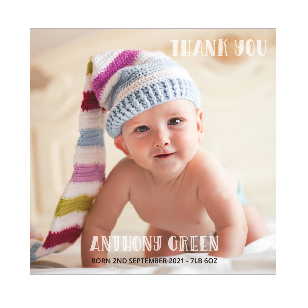 Say Hi, baby thank you card for boys - square format