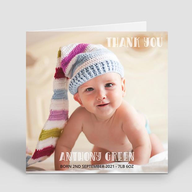 Say Hi – Boy, baby thank you card for boys by Cedar Tree