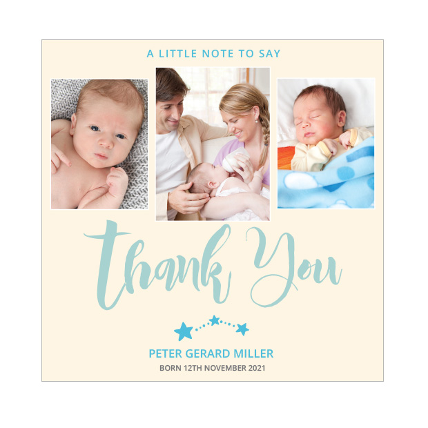 Big Thanks- Boy, baby thank you card - square format