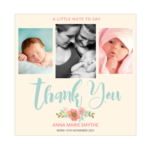 Big Thanks- Girl, baby thank you card - square format