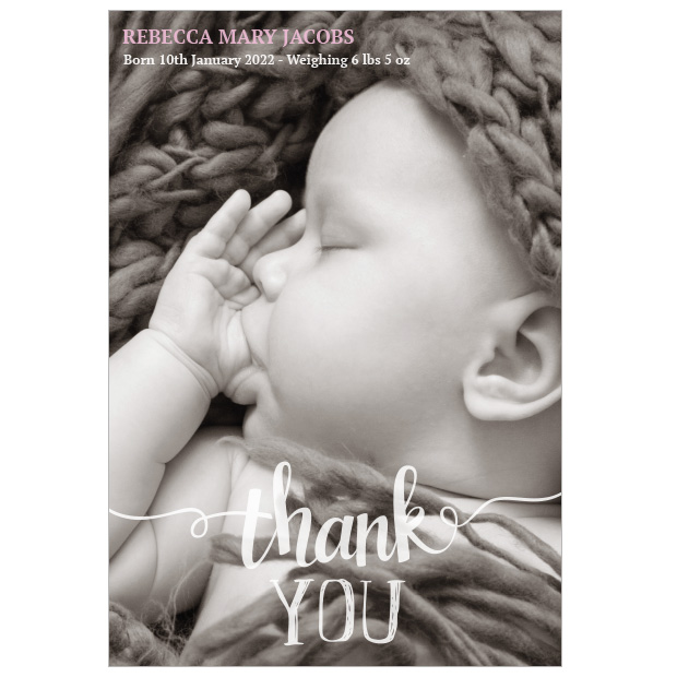 Clear & Simple - Girl, baby thank you card - portrait format