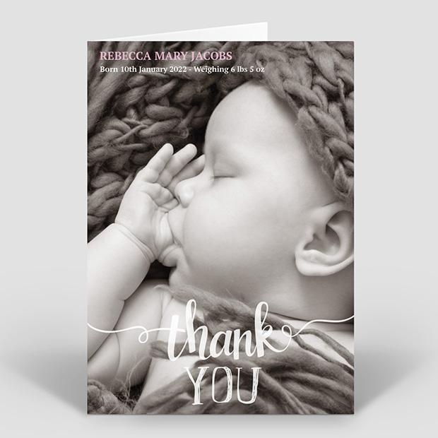 Clear & Simple – Girl, baby thank you card for girls by Cedar Tree