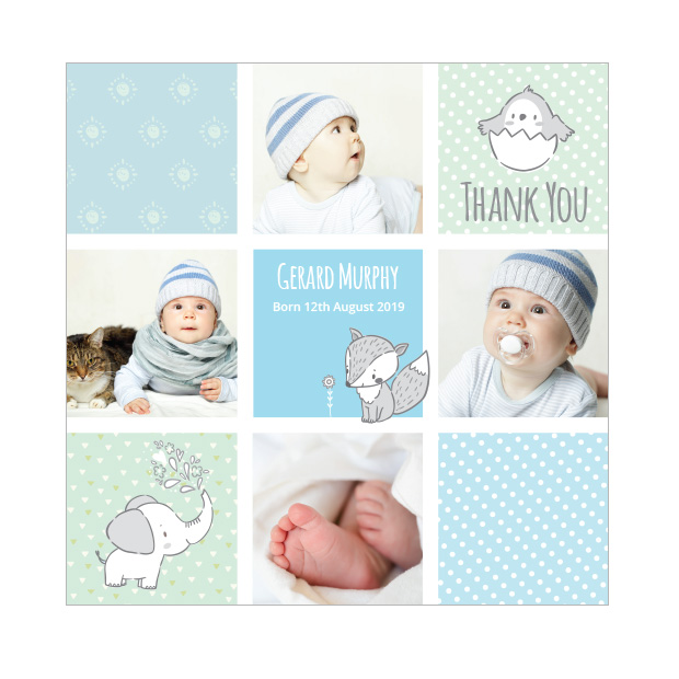 front view of 'Comic Book - Boy' baby thank you card, square format