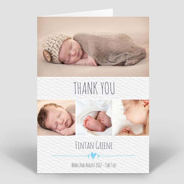 Clean Texture - Boy, baby thank you card for boys by Cedar Tree