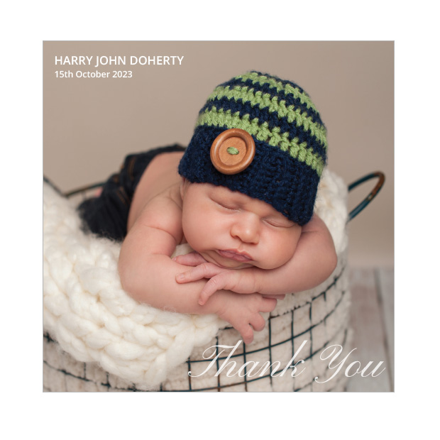 Classic Image, baby thank you card for boys - square format