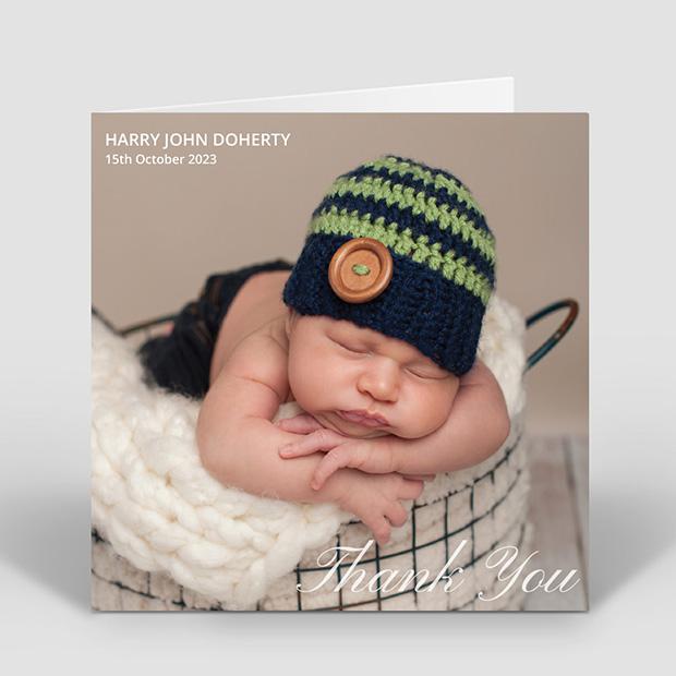 Classic Image - Boy, baby thank you card for boys by Cedar Tree