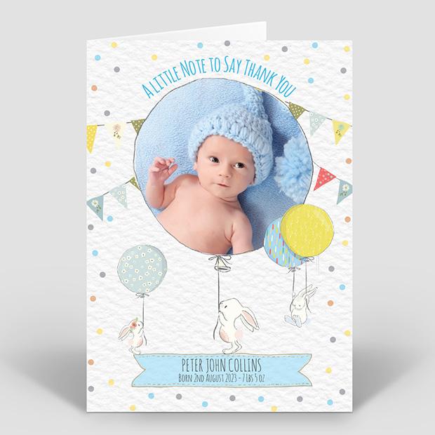 Bunny Fun - Boy, baby thank you card for boys by Cedar Tree