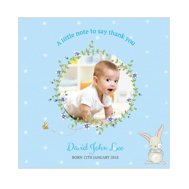 Spring has Sprung - Boy, baby thank you card for boys.