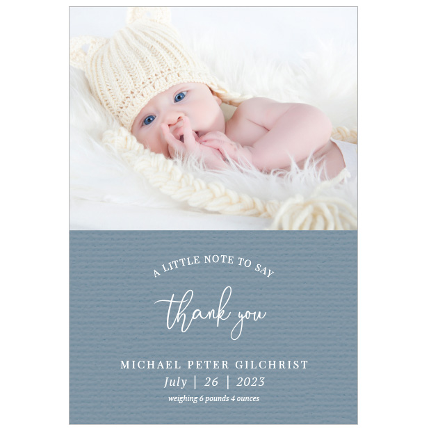A Little Note - Boy, baby thank you card for boys, portrait format