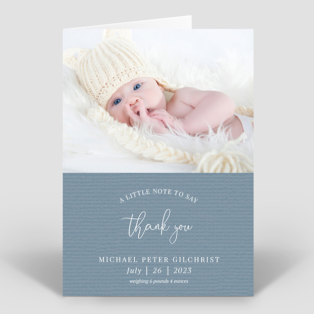A Little Note - Boy, baby thank you card for boys by Cedar Tree