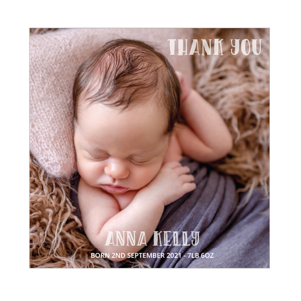 Say Hi, baby thank you card for girls - square format