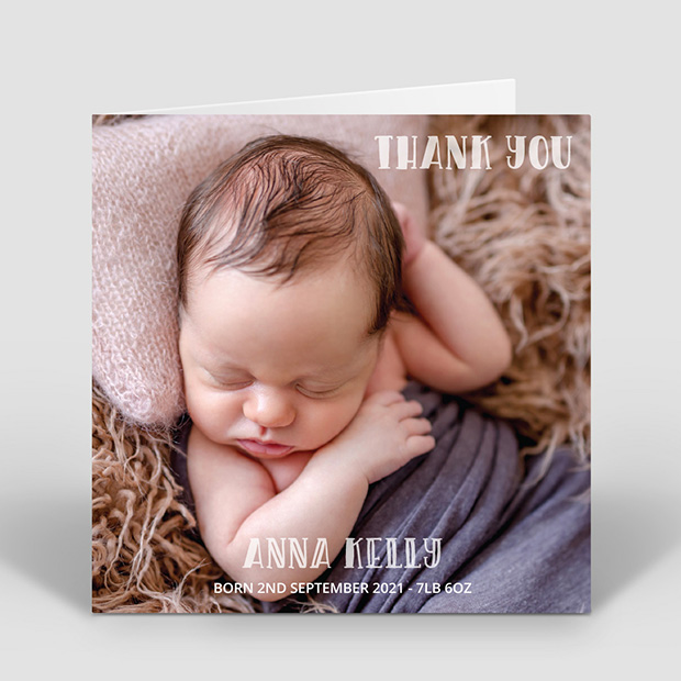 Say Hi – Girl, baby thank you card for girls by Cedar Tree