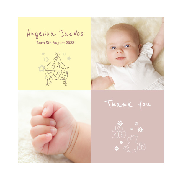 ABC - Girl, baby thank you card for girls, square format
