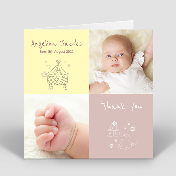 ABC - Girl, baby thank you card for girls by Cedar Tree