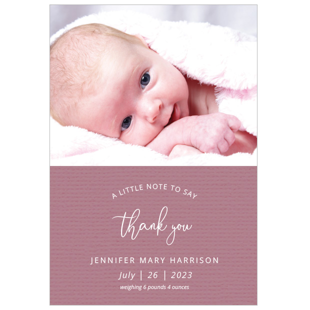 A Little Note - Girl, baby thank you card for girls, portrait format