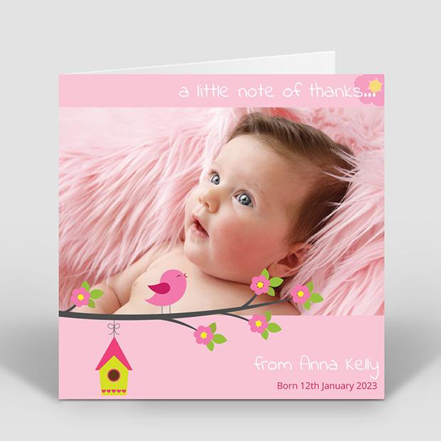 Baby Bird - Girl, baby thank you card for girls by Cedar Tree