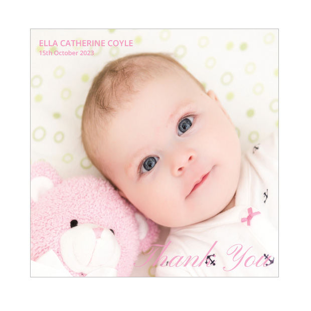 Classic Image, baby thank you card for girls - square format