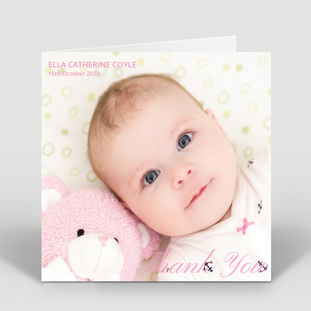 Classic Image - Girl, baby thank you card for girls by Cedar Tree