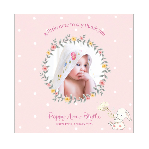 Spring has Sprung - Girl, baby thank you card for girls.