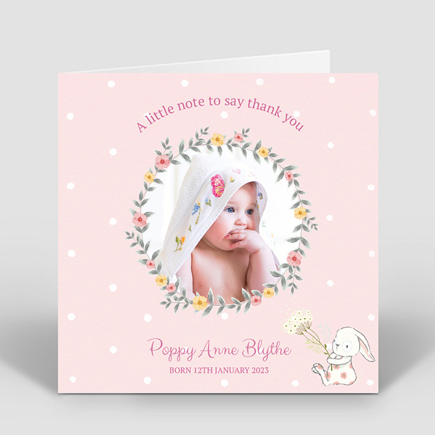 Spring has Sprung - Girl, baby thank you card for girls by Cedar Tree