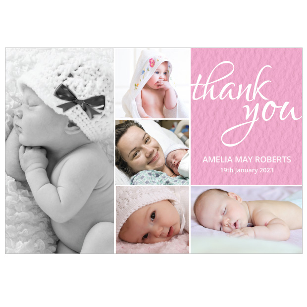 Baby Montage, baby thank you card for girls by Cedar Tree, landscape version.