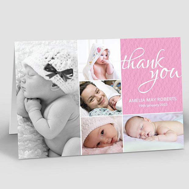 Baby's Montage - Girl, baby thank you card for girls by Cedar Tree