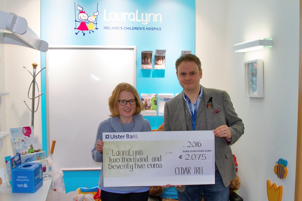 Gerard Haughey was delighted to represent all of Cedar Tree's customers in presenting Claire Shiels of LauraLynn with a cheque for €2,075.00