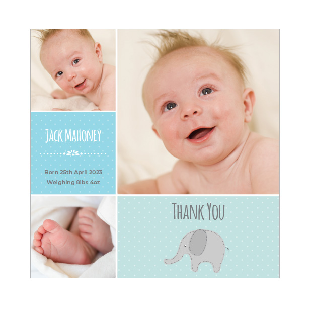 Dotty - Boy, baby thank you card for boys, square format.
