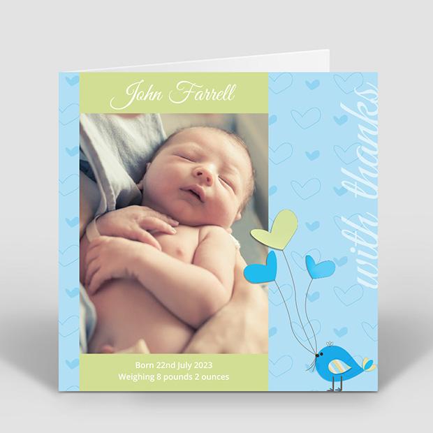 Birdy Baloon - Boy, baby thank you card for boys by Cedar Tree