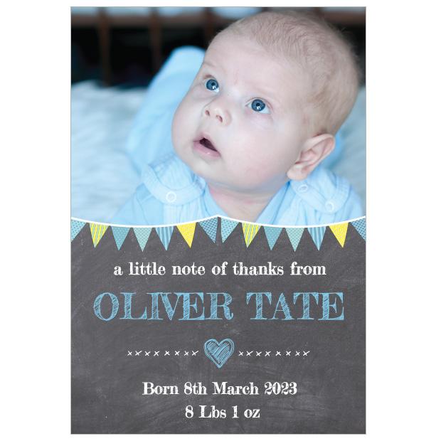 Chalkboard - Boy, baby thank you card for boys. Portrait Format.
