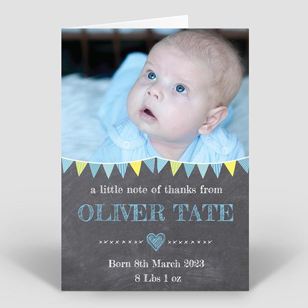 Chalkboard - Boy, baby thank you card for boys by Cedar Tree