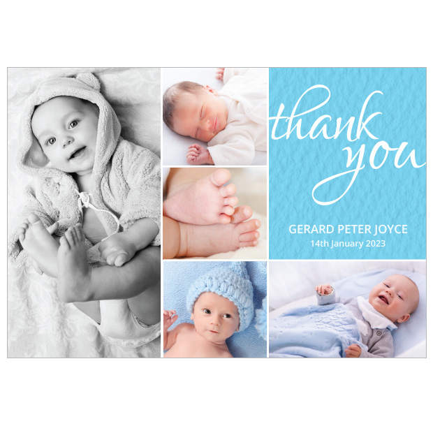 Baby Montage, baby thank you card for boys by Cedar Tree, landscape version.
