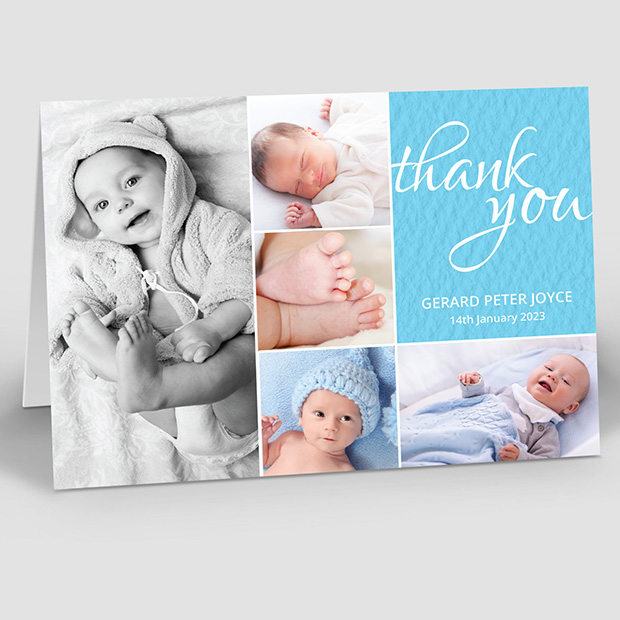 Baby's Montage - Boy, baby thank you card for boys by Cedar Tree