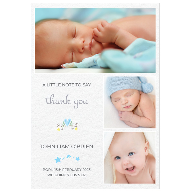 Soft Texture - Boy, baby thank you card for boys, portrait format.
