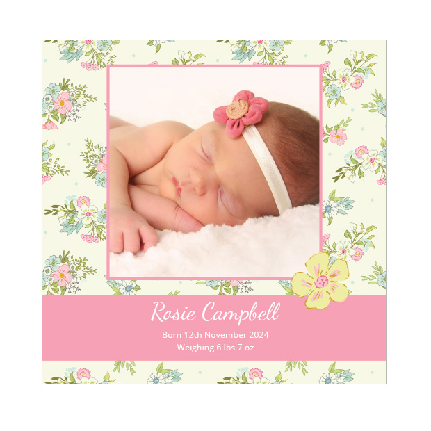 Flower Petal, baby thank you card for girls, square format.