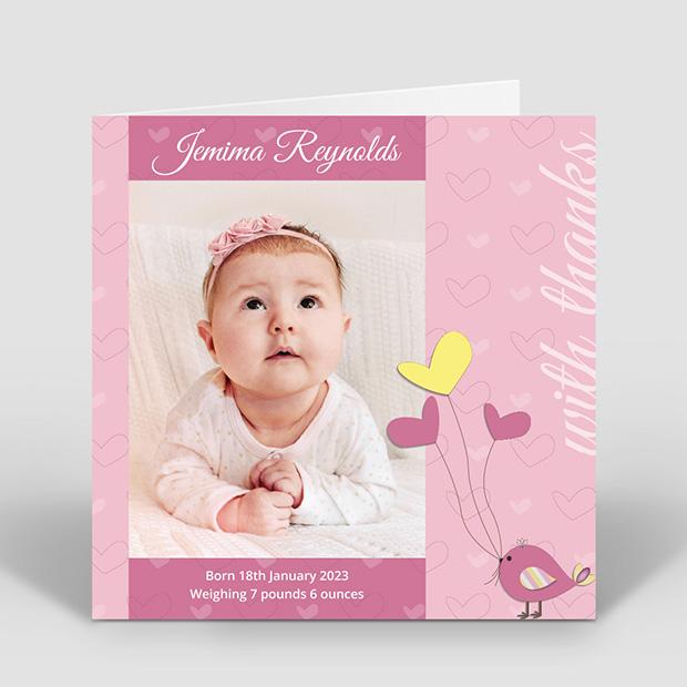 Birdy Baloon - Girl, baby thank you card for girls by Cedar Tree
