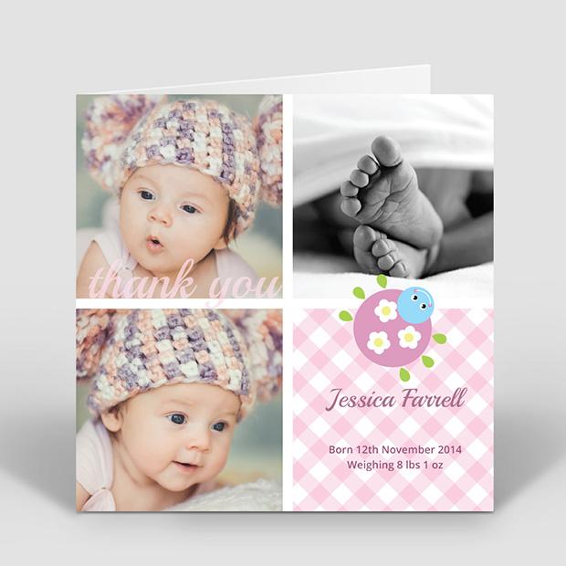 Cutie Bug - Girl, baby thank you card for girls by Cedar Tree