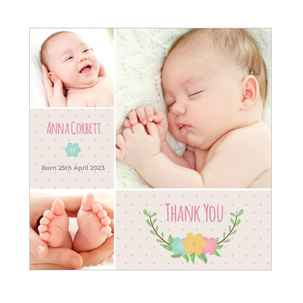 Dotty - Girl, baby thank you card for girls, square format.
