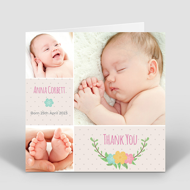 Dotty – Girl, baby thank you card for girls by Cedar Tree