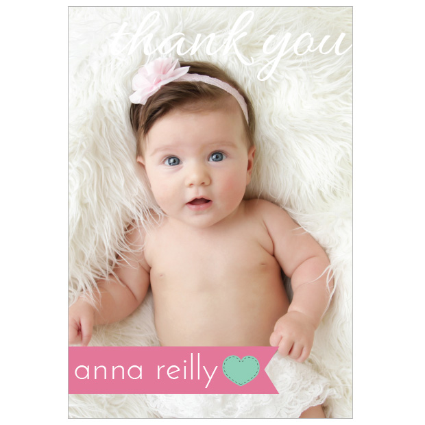 Simple Things – Girl, baby thank you card for girls.