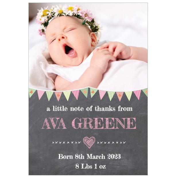 Chalkboard - Girl, baby thank you card for girls. Portrait Format.
