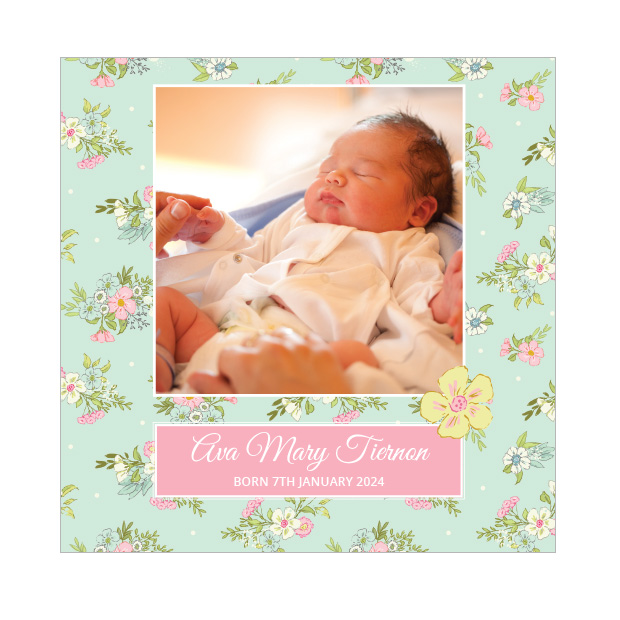 Country Walk, baby thank you card for girls, square format.