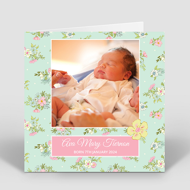 Country Walk, baby thank you card for girls by Cedar Tree
